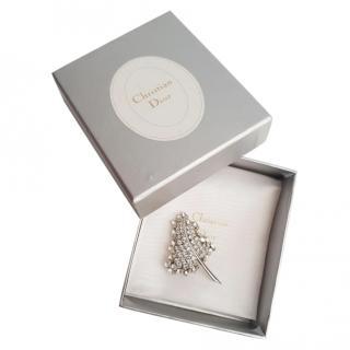 Dior Vintage Crystal Embellished Leaf Brooch