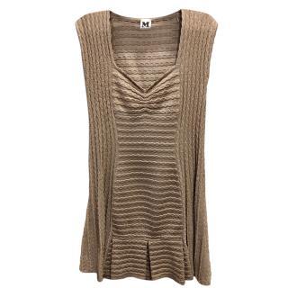 Missoni Metallic Gold Stretch Knit Dress