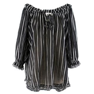Zimmermann Aerial fringe-trimmed striped cotton-gauze tunic