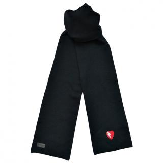 Saint Laurent black wool heart motif scarf