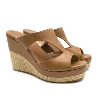 Jimmy Choo Camel Leather Espadrille Wedge Sandals