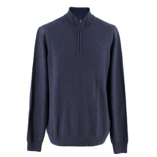Hackett Navy Blue Zip-Neck Sweater