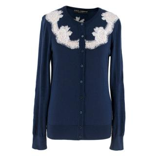Dolce & Gabbana Blue Cashmere and Silk Lace Trim Cardigan