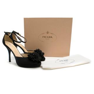 Prada Black Leather Embellished Peep-Toe Sandals