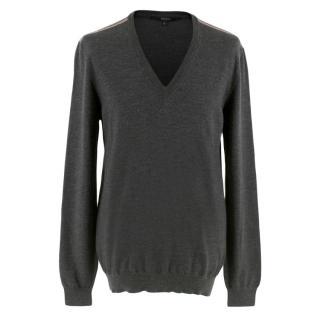 Gucci V-Neck Knit Grey Jumper