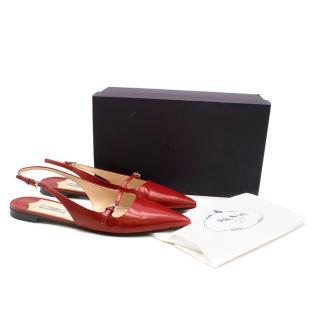 Prada Red Leather Flat Slingback Sandals