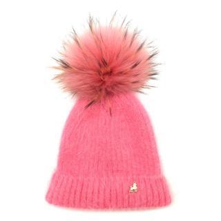 Pom Pom Poodle Pink Angora-blend Real Fur Pom-Pom Hat
