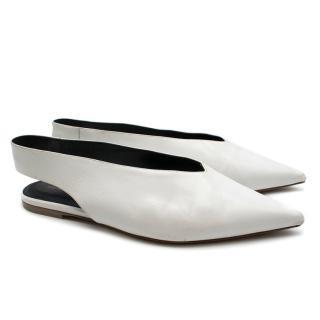 CELINE White leather V neck slingback flats