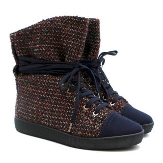 Chanel Red & Blue Tweed Lace-Up Trainers