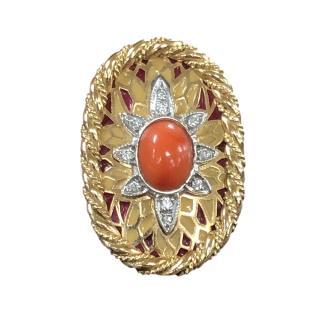 Bespoke corall, diamond and enamel vintage ring