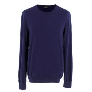 Z Zegna Navy Wool Crew Neck Jumper