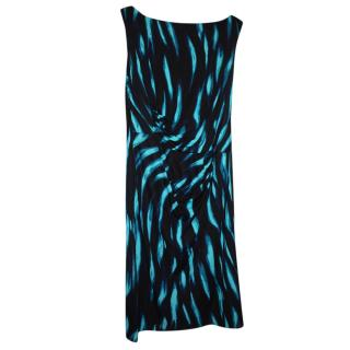 Issa Blue & Black Printed Dress