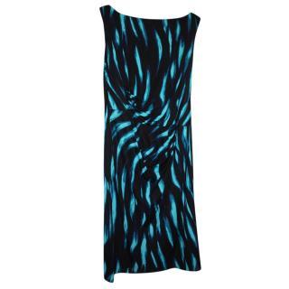 Issa Blue & Black Printed Dress