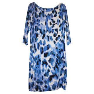 Philipp Plein Blue Animal Print Dress