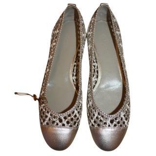 Loro Piana Woven Leather Ballerina Flats