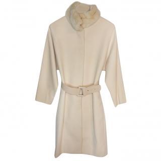 Versace Cream Wool Coat W/ Fur Collar