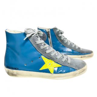 Golden Goose Blue Patent Francy High Top Trainers