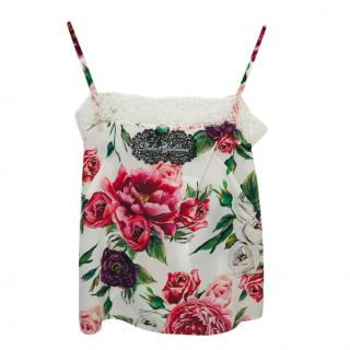 Dolce & Gabbana Floral Cami Top W/ Lace Trim