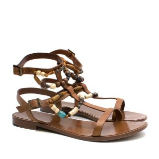 Saint Laurent Camel Calf Leather Beaded Sandals