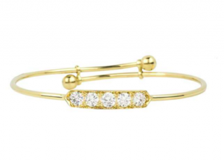 Bespoke Yellow Gold Diamond Set Childrens Bangle