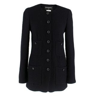 Chanel Black Wool Tweed Longline Jacket