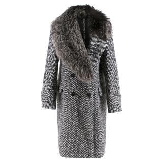 Ermanno Scervino Chevron Tweed Wool & Fur Coat