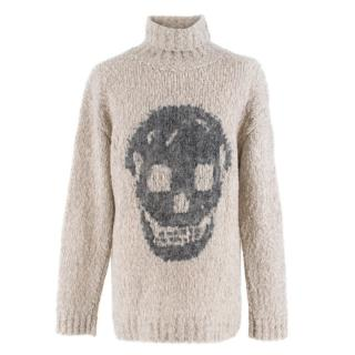 Alexander McQueen Grey Skull Print Wool Blend Roll Neck Sweater