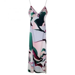 Emilio Pucci Printed Silk Sequin Trim Gown