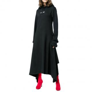 Vetements Black Terry Asymmetric Hooded Dress