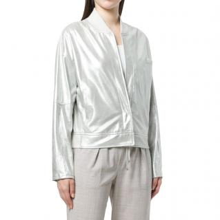 Lorena Antoniazzi Metallic Leather Bomber Jacket