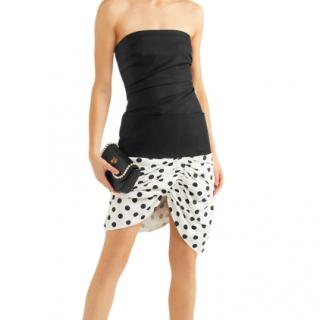 Jacquemus strapless piqu� and polka-dot cotton-poplin dress