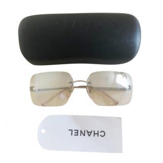 Chanel Silver Vintage Rectangle Sunglasses