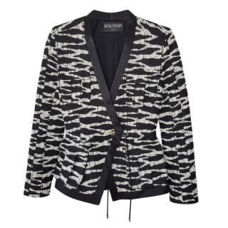 Balmain Black & White Tweed Tie Front Blazer
