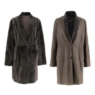 Brunello Cucinelli Grey Reversible Sheepskin & Silk Coat