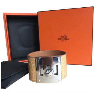 Hermes beige alligator dog cuff bracelet