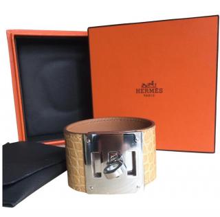 Hermes beige alligator dog cuff bracelet