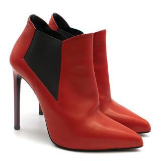 Saint Laurent red stiletto chelsea boots