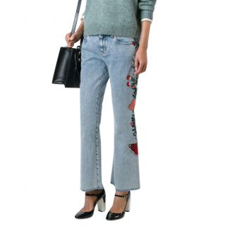 Gucci floral embroidery cropped jeans