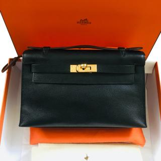 Hermes Black Kelly Pochette Bag