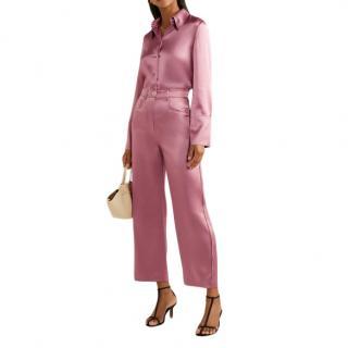 Nanushka Marfa Pink Satin Cropped Pants