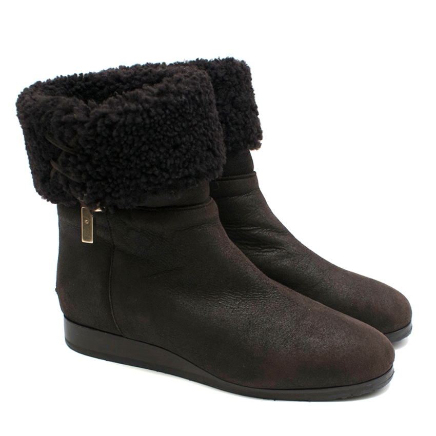 Jimmy Choo Brown Suede Shearling Trim Boots
