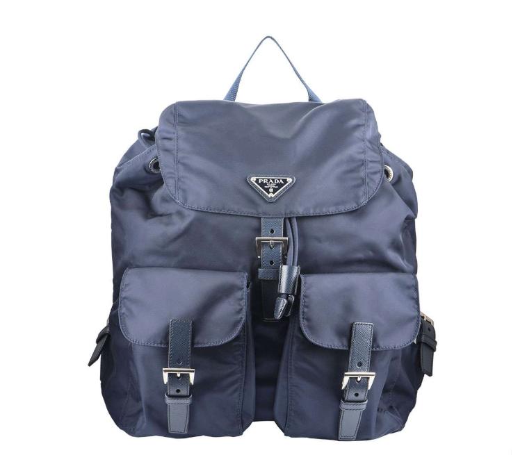 Prada Blue Nylon And Saffiano Leather Backpack