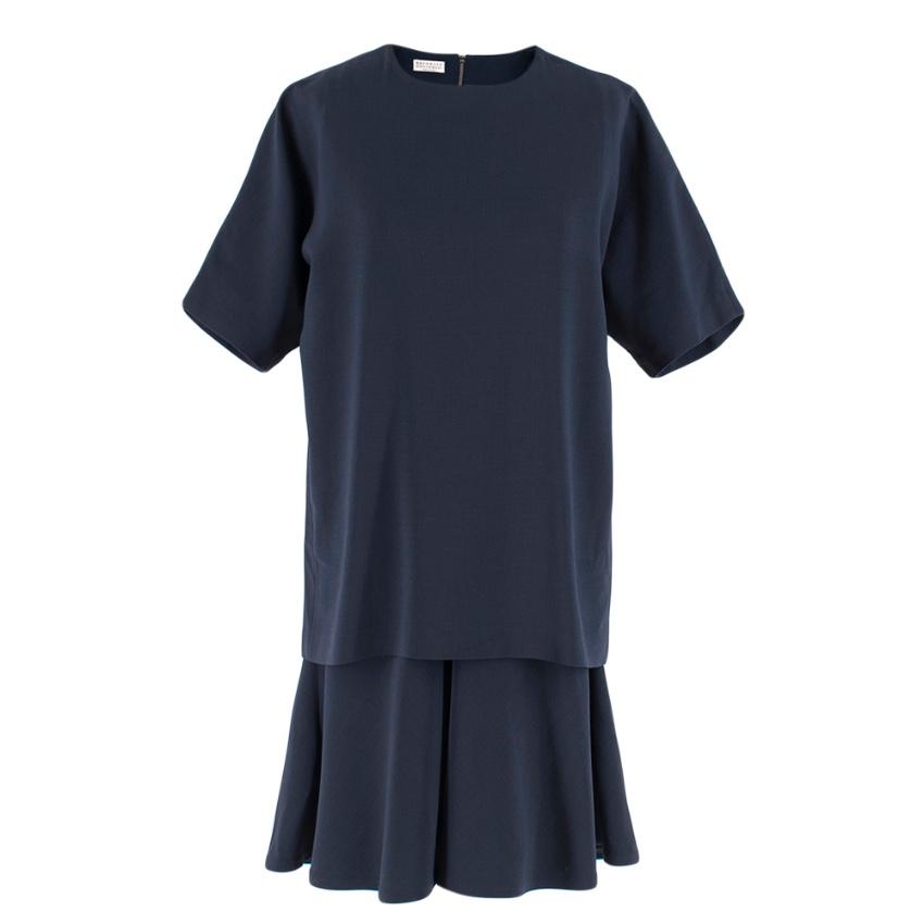 Brunello Cucinelli Navy Wool Double Layer Dress
