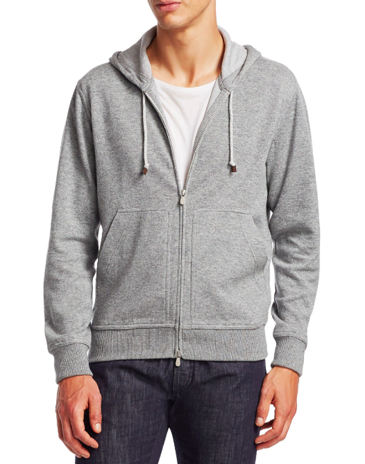 Brunello Cucinelli Grey Zip-Up Hoodie