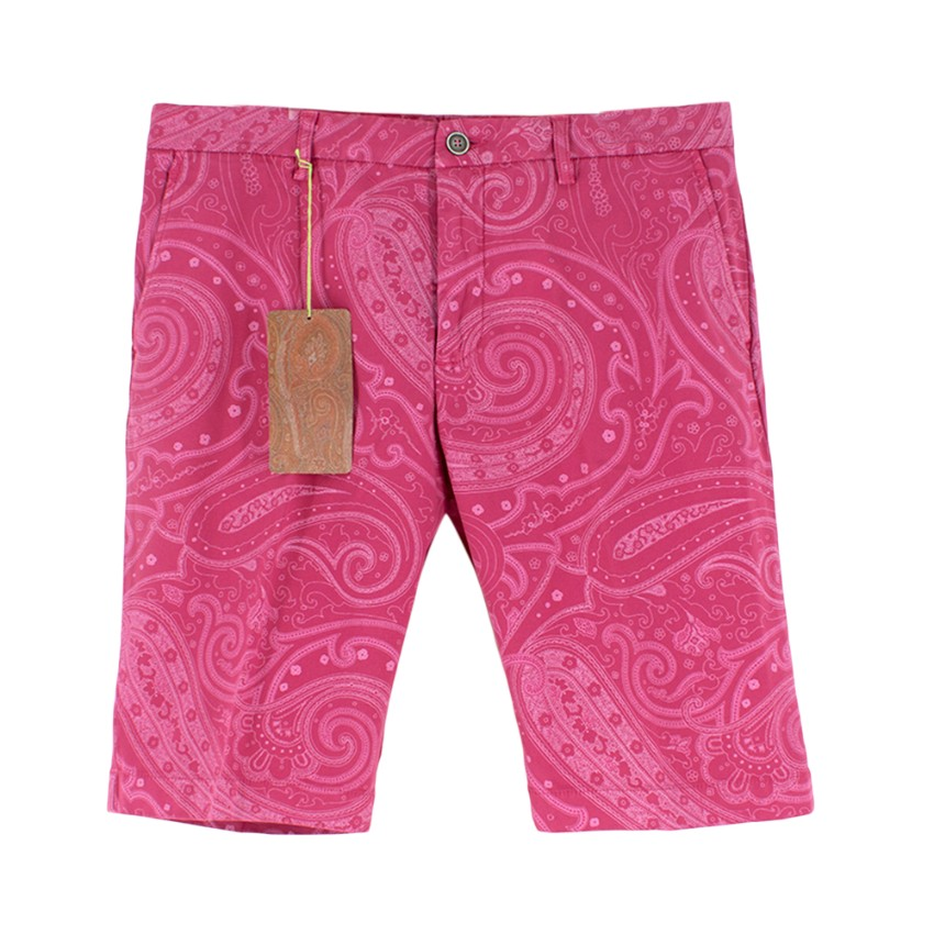 Etro Pink Cotton Paisley Printed Shorts