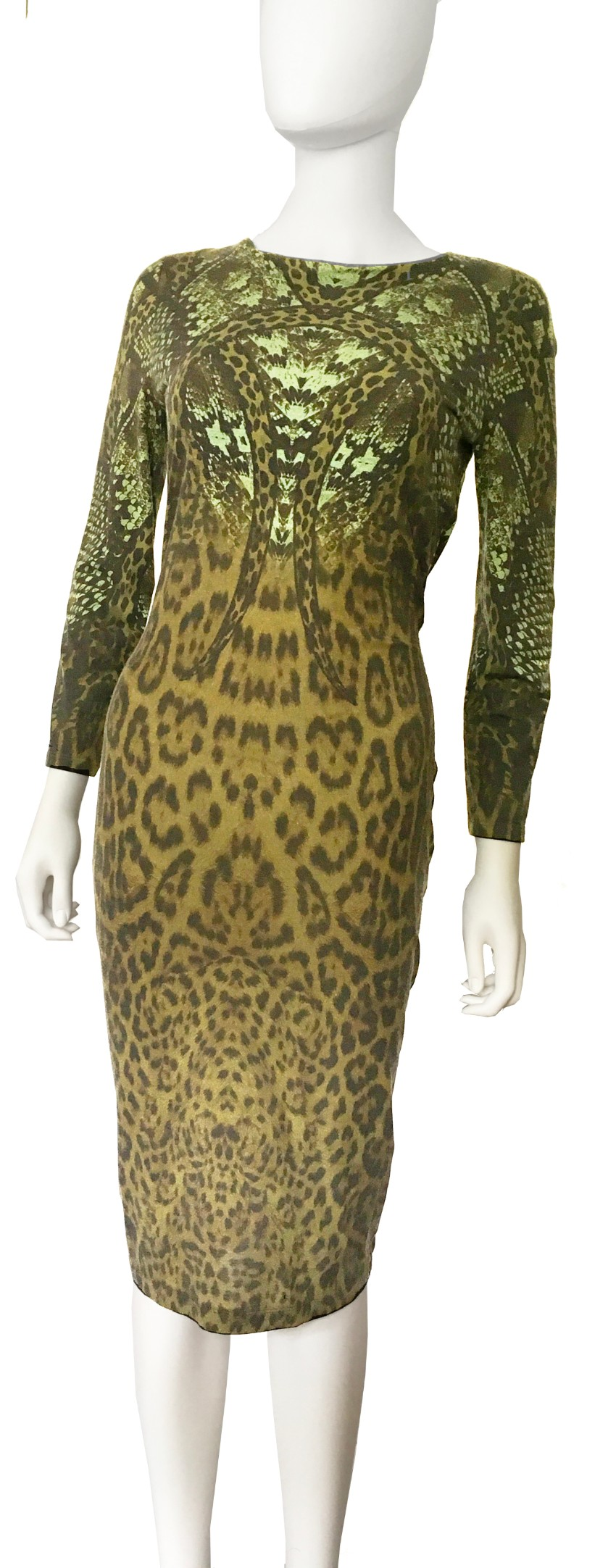 Roberto Cavalli Snake & Leopard Print Stretch Under the Knee Dress