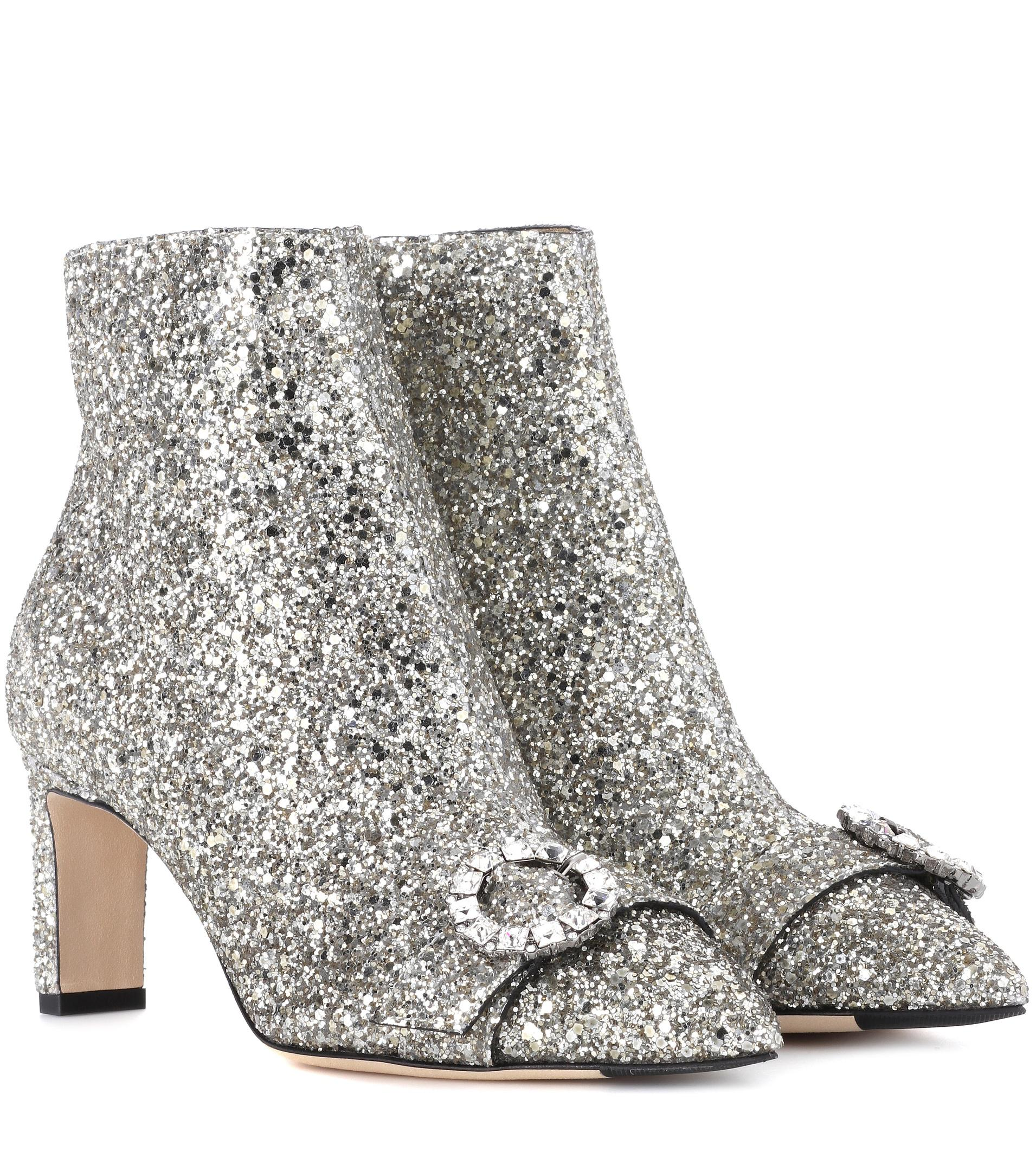 Jimmy Choo Hanover Glitter Ankle Boots