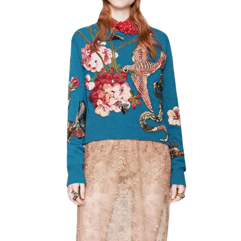 Gucci Blue Wool Embroidered Jumper