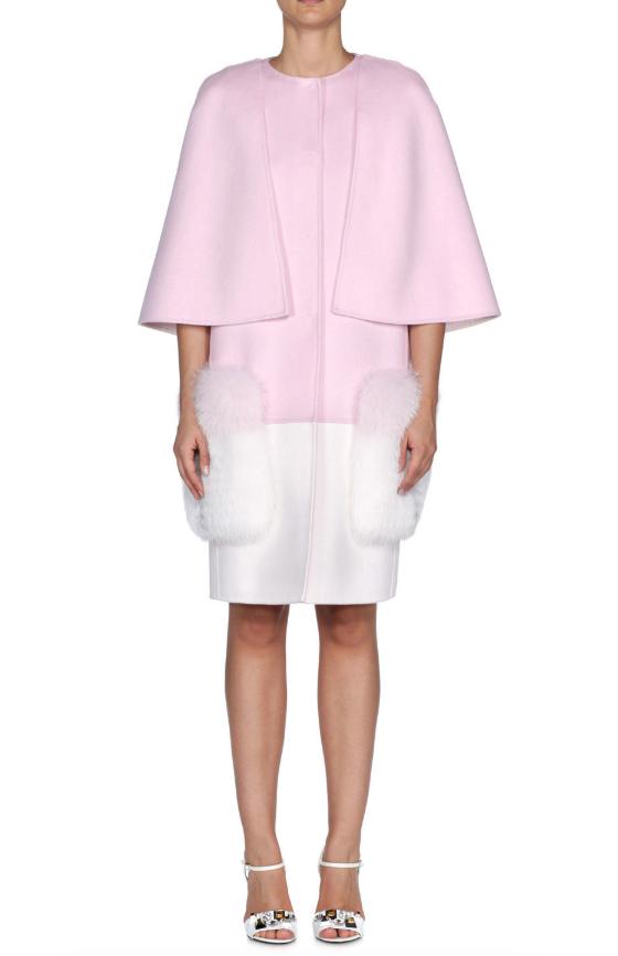 Fendi Fur Pocket Bi-Colour Wool Coat