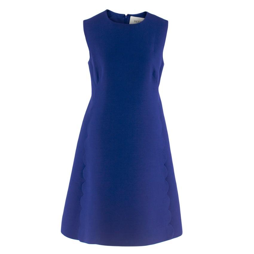 Valentino Blue Wool & Silk Scallop Trim Mini-Dress